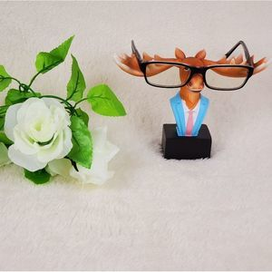 6'' Resin Deer Glasses Bracket Figurines